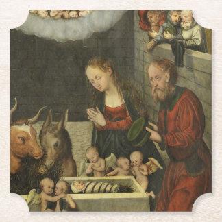 Posavasos De Papel Pastores que adoran al bebé Jesús por Cranach