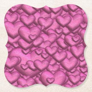 Posavasos De Papel Rosa brillante de los corazones