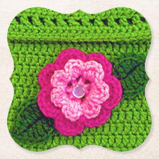 Posavasos De Papel Soporte reutilizable de la impresión floral verde
