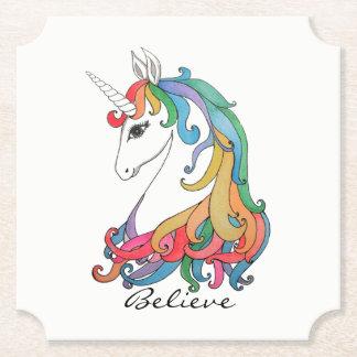 Posavasos De Papel Unicornio lindo del arco iris de la acuarela