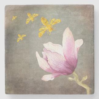 Posavasos De Piedra Abejas de la flor y del oro de la acuarela