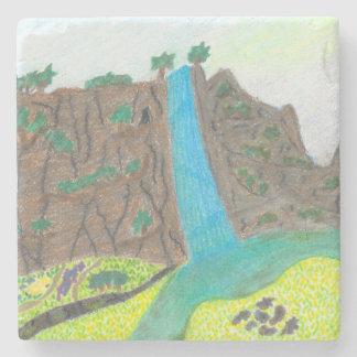Posavasos De Piedra Acantilado soleado de las caídas y práctico de