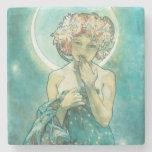 Posavasos De Piedra Alphonse Mucha Luna Clair De Lune Art Nouveau