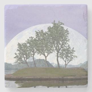 Posavasos De Piedra Árbol con hojas liso de los bonsais del olmo - 3D