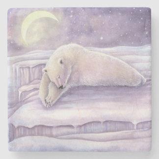 Posavasos De Piedra Arte de la luna de la escena del invierno del oso