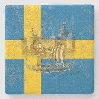 Posavasos De Piedra Bandera y símbolos de Suecia ID159