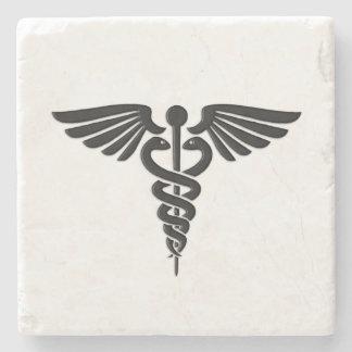 Posavasos De Piedra Caduceo médico de plata