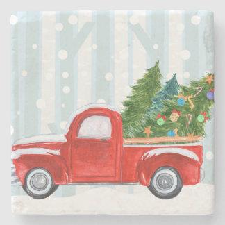 Posavasos De Piedra Camioneta pickup roja del navidad en un camino