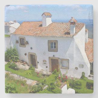 Posavasos De Piedra Casa mediterránea de la acuarela