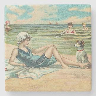 Posavasos De Piedra Chica de la natación de la playa del Victorian
