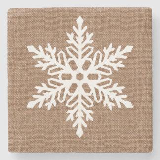 Posavasos De Piedra Copo de nieve en navidad del estilo rural de la