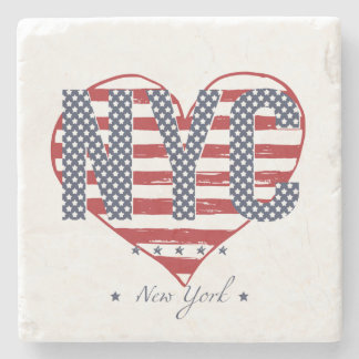 Posavasos De Piedra Corazón de la bandera americana de NYC