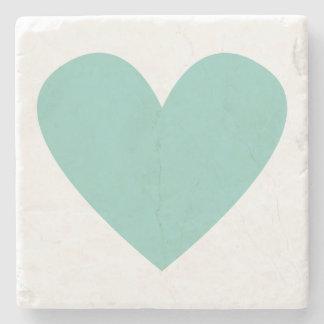 Posavasos De Piedra Corazón verde azulado
