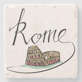 Posavasos De Piedra Diseño indicado con letras de la mano de Roma