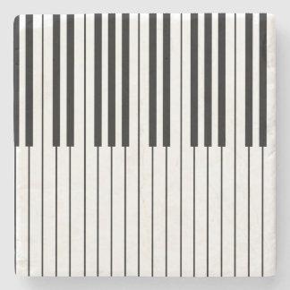 Posavasos De Piedra El piano cierra blanco y negro de marfil