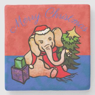 Posavasos De Piedra Elefante encantador del dibujo animado de Santa de