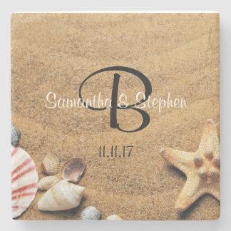 Posavasos De Piedra Favor personalizado del regalo de boda de playa