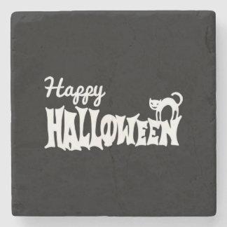 Posavasos De Piedra Feliz Halloween blanco y negro