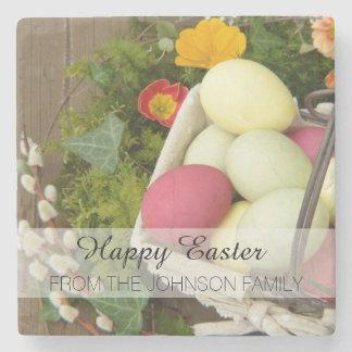 Posavasos De Piedra Flores de la primavera y cesta de huevos de Pascua