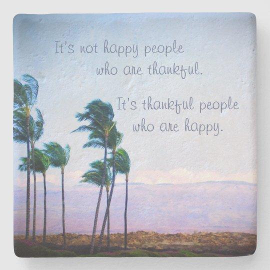 Posavasos De Piedra Foto de las palmeras de Hawaii de la cita de la