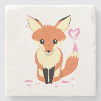 Posavasos De Piedra Fox que pinta el práctico de costa de piedra lindo