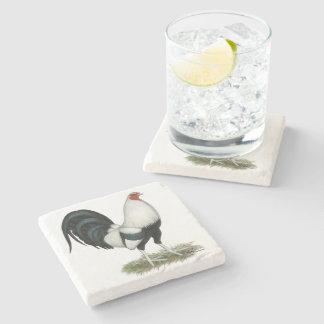 Posavasos De Piedra Gallo de pelea de plata de Duckwing
