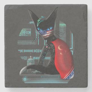 Posavasos De Piedra Gato de Ninja del Cyberpunk