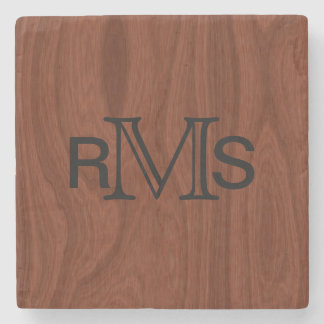 Posavasos De Piedra Grano de madera de caoba con monograma elegante de