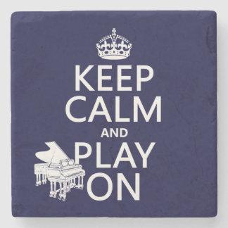 Posavasos De Piedra Guarde la calma y el juego en (piano) (cualquier