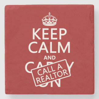 Posavasos De Piedra Guarde la calma y llame un agente inmobiliario
