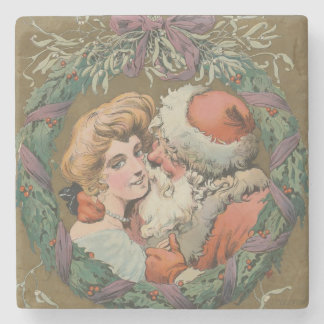 Posavasos De Piedra Guirnalda del navidad de Santa del vintage que se