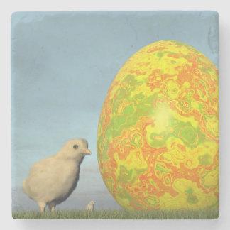 Posavasos De Piedra Huevo y polluelos de Pascua - 3D rinden