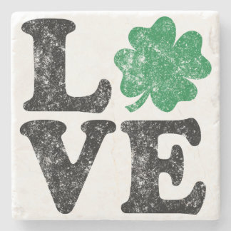 Posavasos De Piedra Irlandés del trébol del AMOR del día de St Patrick