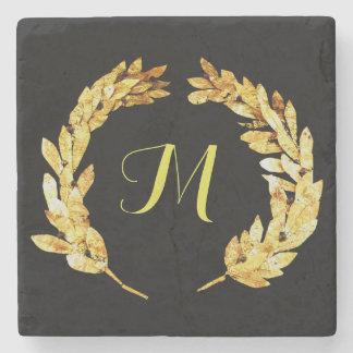 Posavasos De Piedra Logotipo del laurel del griego clásico del