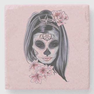 Posavasos De Piedra Máscara del esqueleto de la mujer