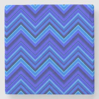 Posavasos De Piedra Modelo de zigzag de las rayas azules