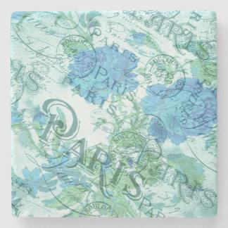Posavasos De Piedra Modelo floral azul de los matasellos de París del