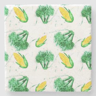 Posavasos De Piedra Modelo inconsútil vegetal con maíz y bróculi