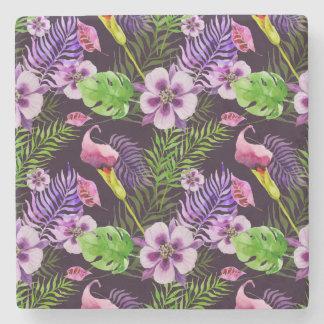 Posavasos De Piedra Modelo tropical púrpura negro de la acuarela de la
