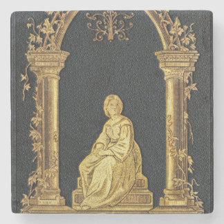 Posavasos De Piedra Mujer de Falln en cubierta de libro del oro