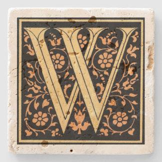 Posavasos De Piedra Negro del vintage y ` W de la letra del oro'