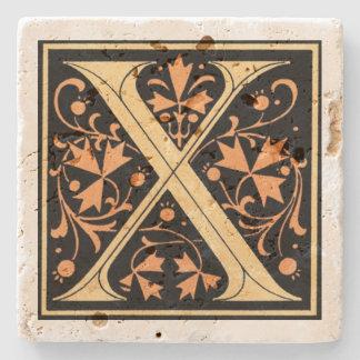 Posavasos De Piedra Negro del vintage y ` X de la letra del oro'
