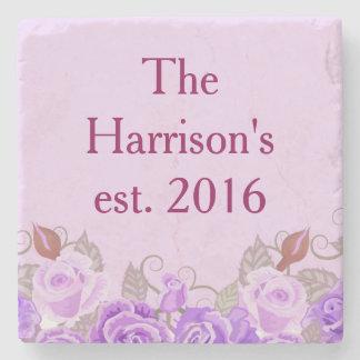 Posavasos De Piedra Nombre floral púrpura bonito del personalizar del