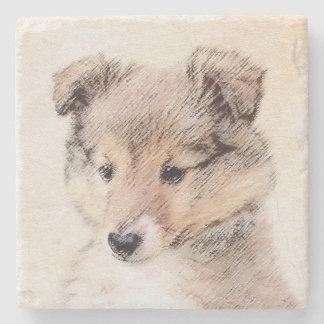 Posavasos De Piedra Perrito del perro pastor de Shetland