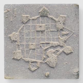 Posavasos De Piedra Piedra de pavimentación del mapa de la ciudadela