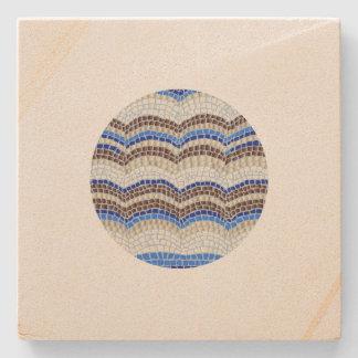 Posavasos De Piedra Práctico de costa azul redondo de la piedra