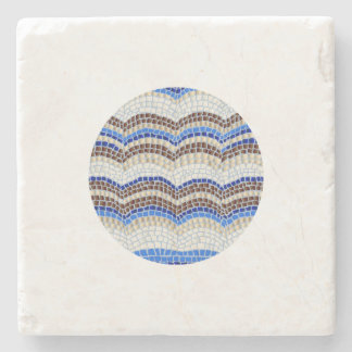 Posavasos De Piedra Práctico de costa azul redondo de la piedra del