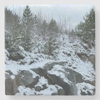 Posavasos De Piedra Práctico de costa del paisaje del invierno de