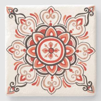 Posavasos De Piedra Práctico de costa floral anaranjado del diseño de