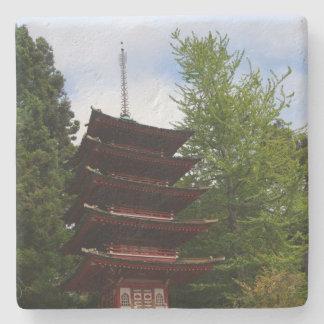 Posavasos De Piedra Práctico de costa japonés de la pagoda del jardín
